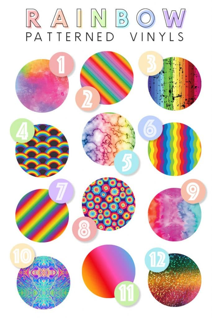 collage of favorite rainbow patterned vinyls