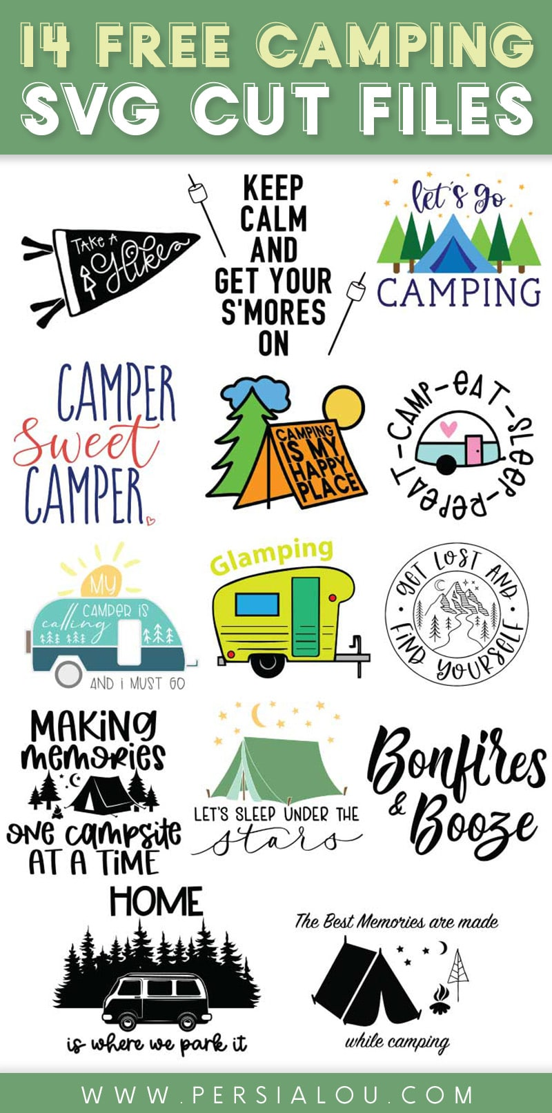 collage of 14 different camping themed svg cut file designs