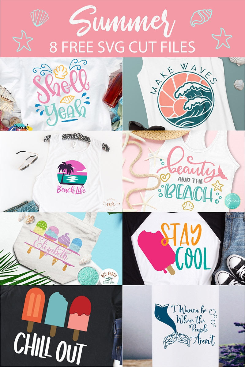 collage of 8 summer fun vinyl projects using free svg cut files