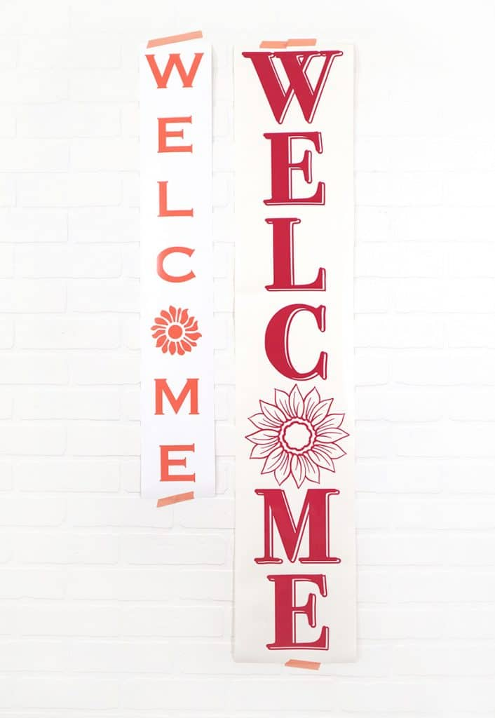 long vertical cut vinyl decals for welcome signs cut by the cricut joy and silhouette portrait 2 cutting dimensions comparison