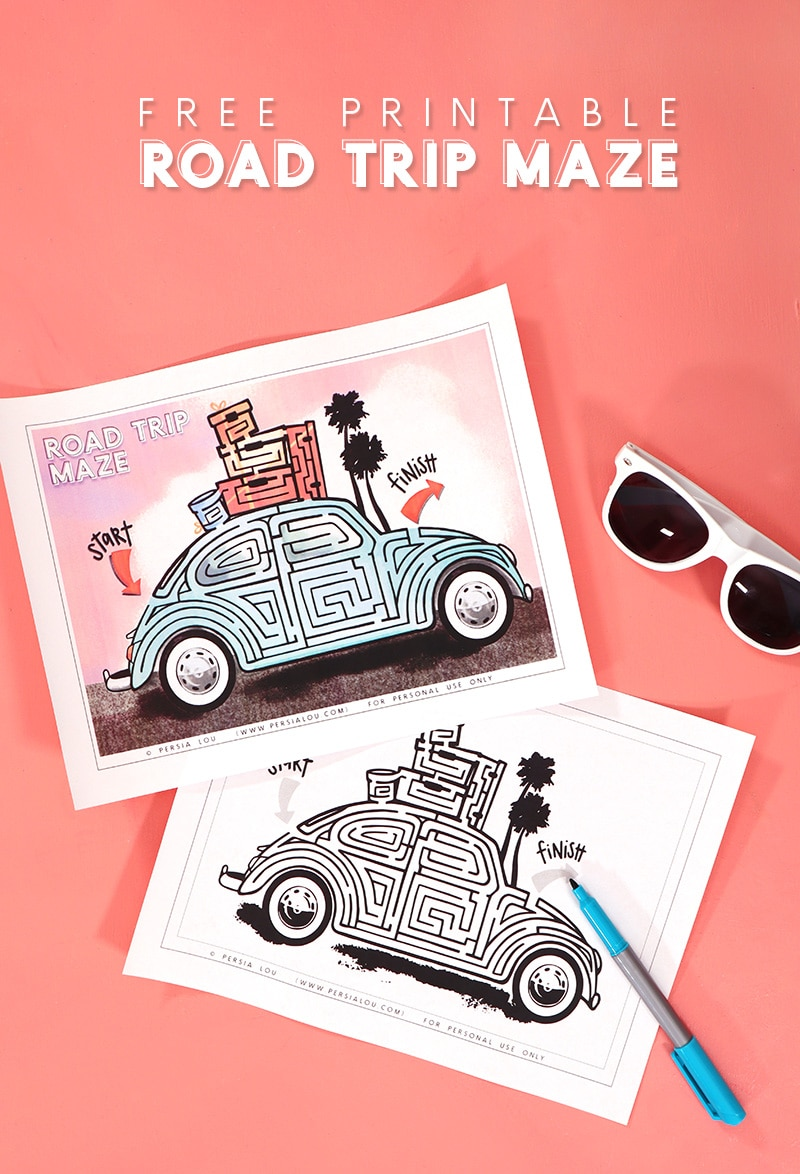 two printed road trip themed mazes in the shape of a retro vw bug