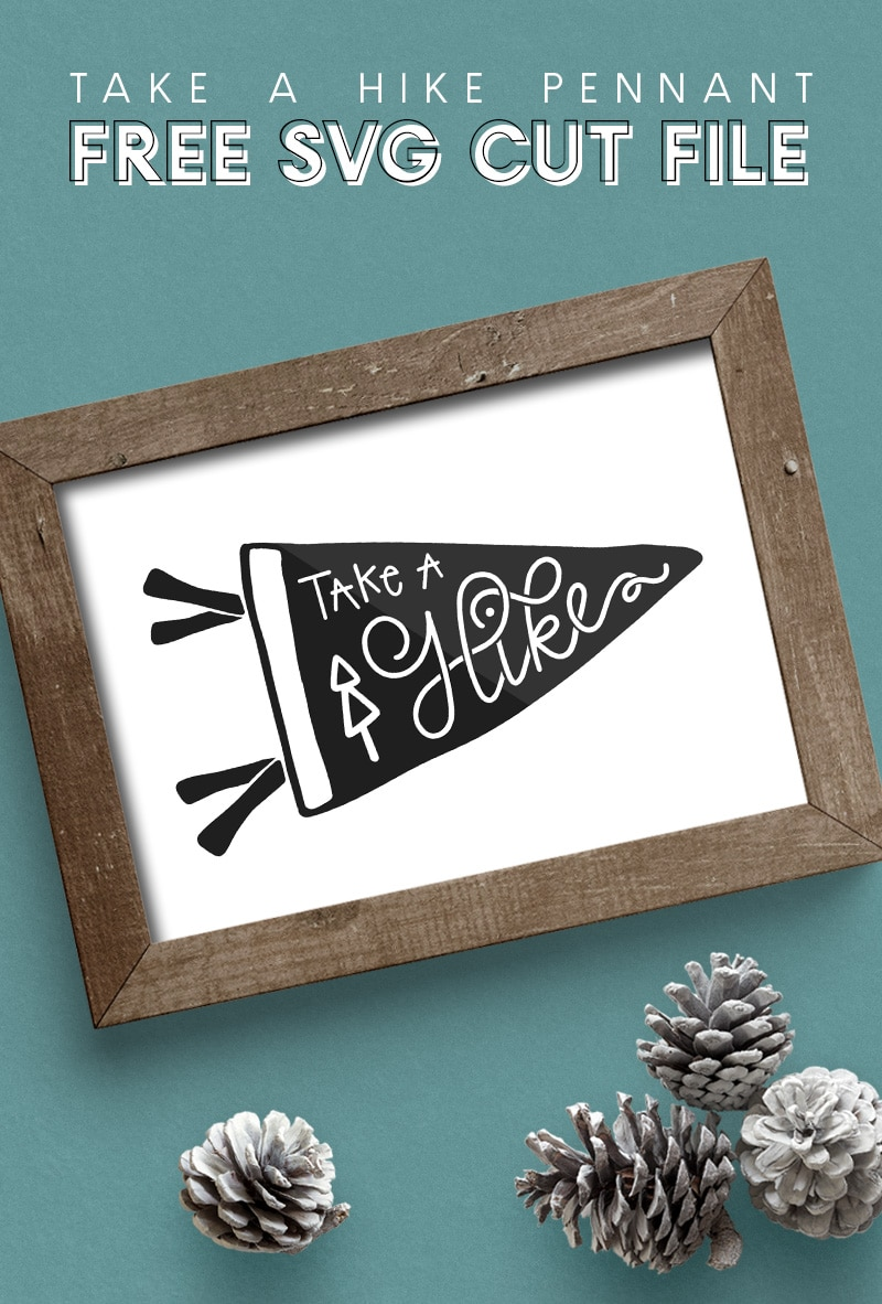 take a hike hand drawn cut file design in wooden frame on turquoise background