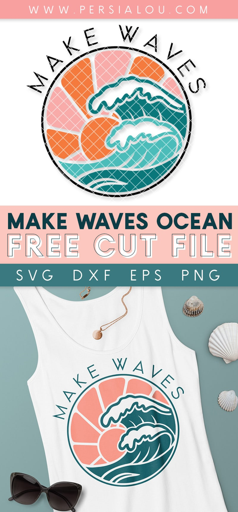 collage image of multi-color make waves design and tank top with pink and teal ocean design