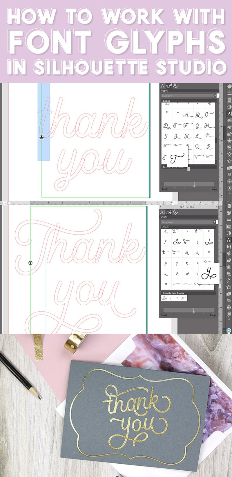 collage image of screenshots demonstrating how to use glyphs in the silhouette studio software