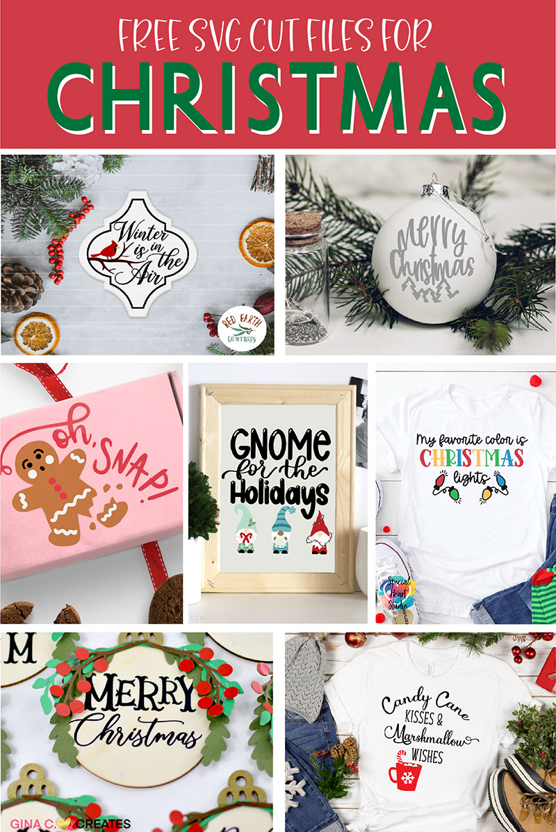 christmas svg cut files collage image with seven vinyl craft projects