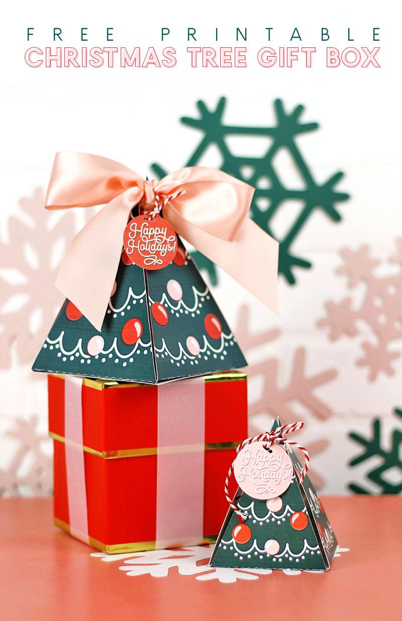 Free Printable Christmas Tree Gift Box Persia Lou