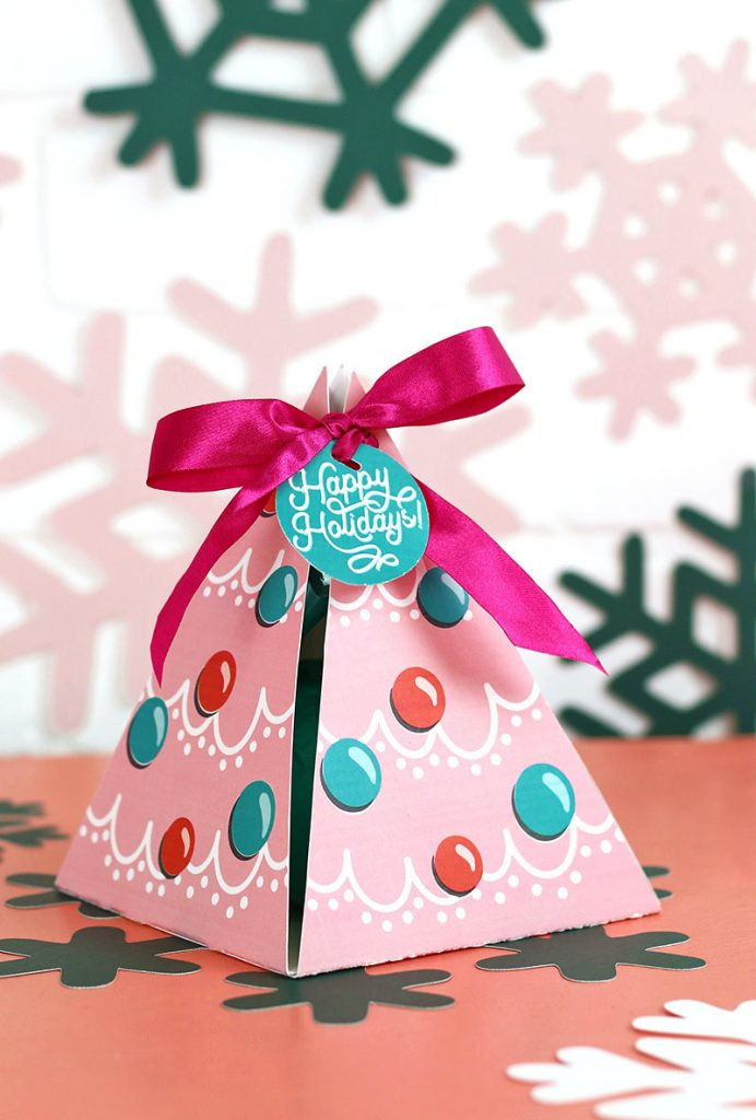 pink pyramid shaped christmas gift box