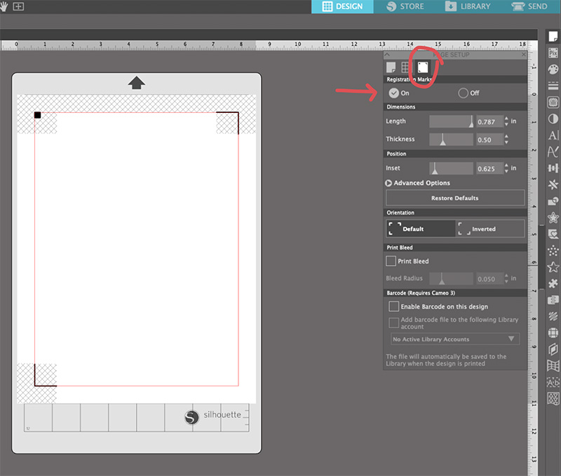 screenshot of registration mark settings for print and cut in the silhouette studio software