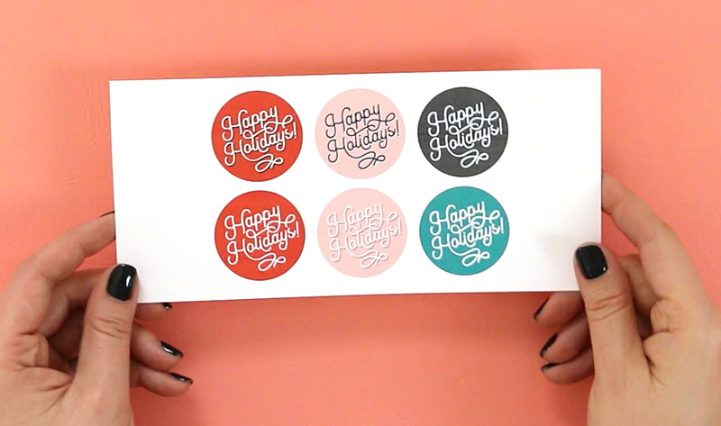 happy holidays circle tags printable