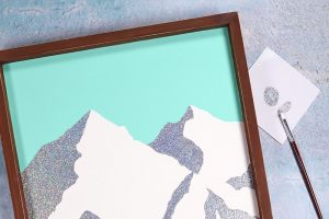 DIY Holographic Minimal Mountain Art with DecoArt