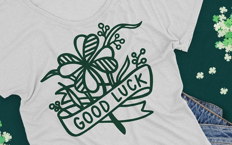 "Free ""Good Luck"" Four Leaf Clover SVG Cut File"