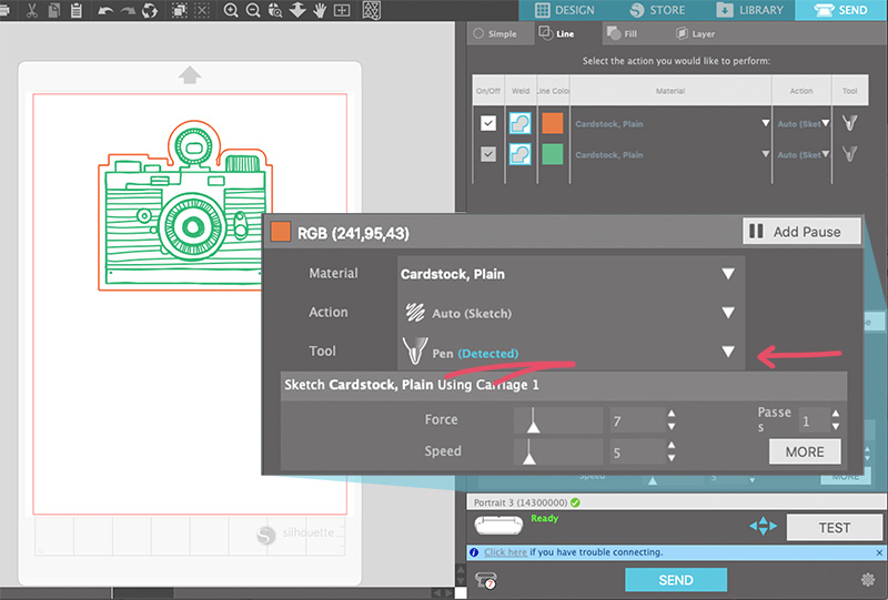 screenshot of the silhouette studio software showing the sketch pen being detected by the portrait 3 machine