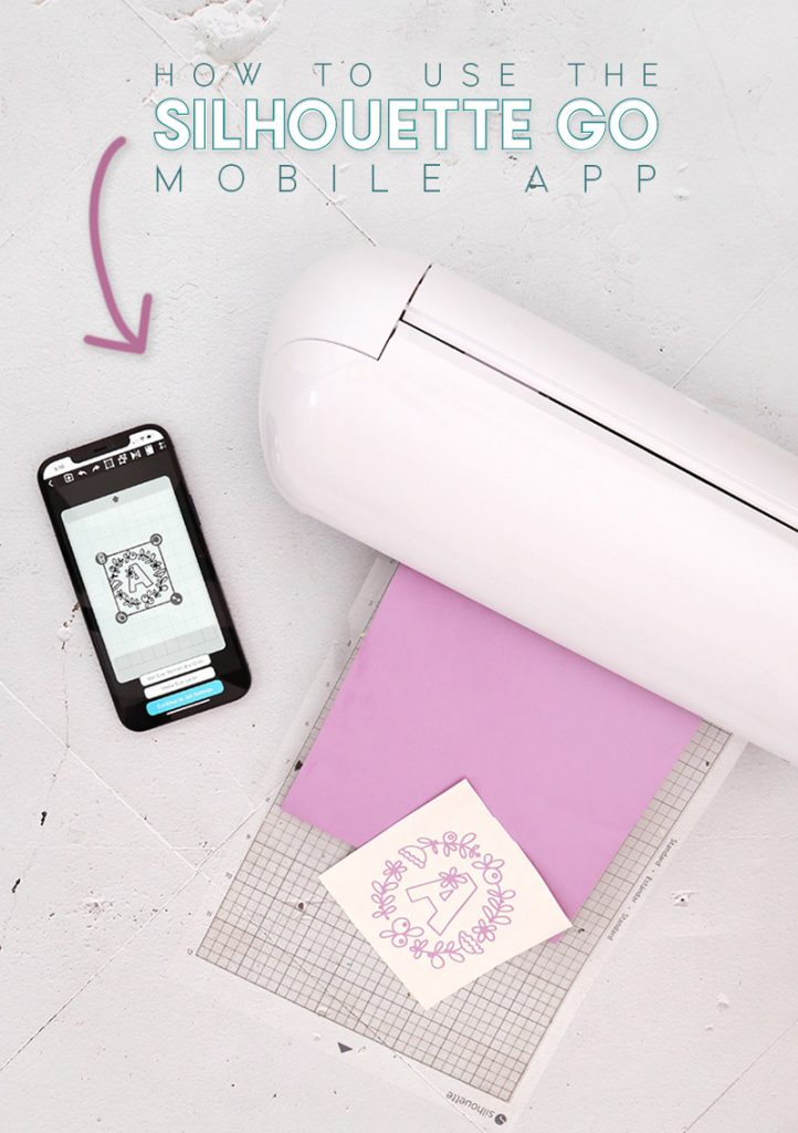 A Silhouette Portrait 3 machine sits on a table with light purple vinyl loaded into the machine. Next to the machine on the table sits an iphone displaying the Silhouette Go mobile app.