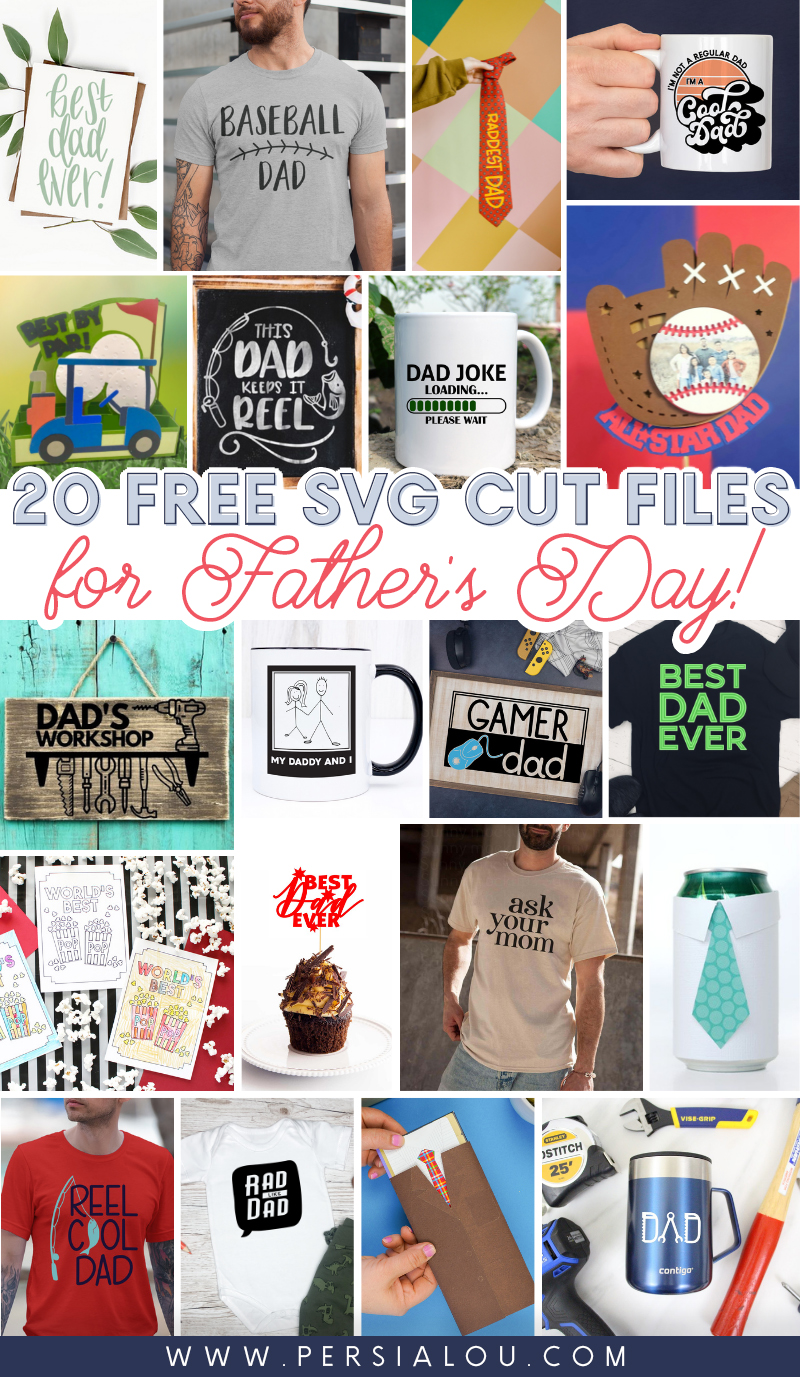 Collage of 20 Father's Day paper and vinyl craft projects.