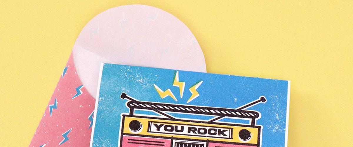 "Free Printable ""You Rock"" Boom Box Notecard"