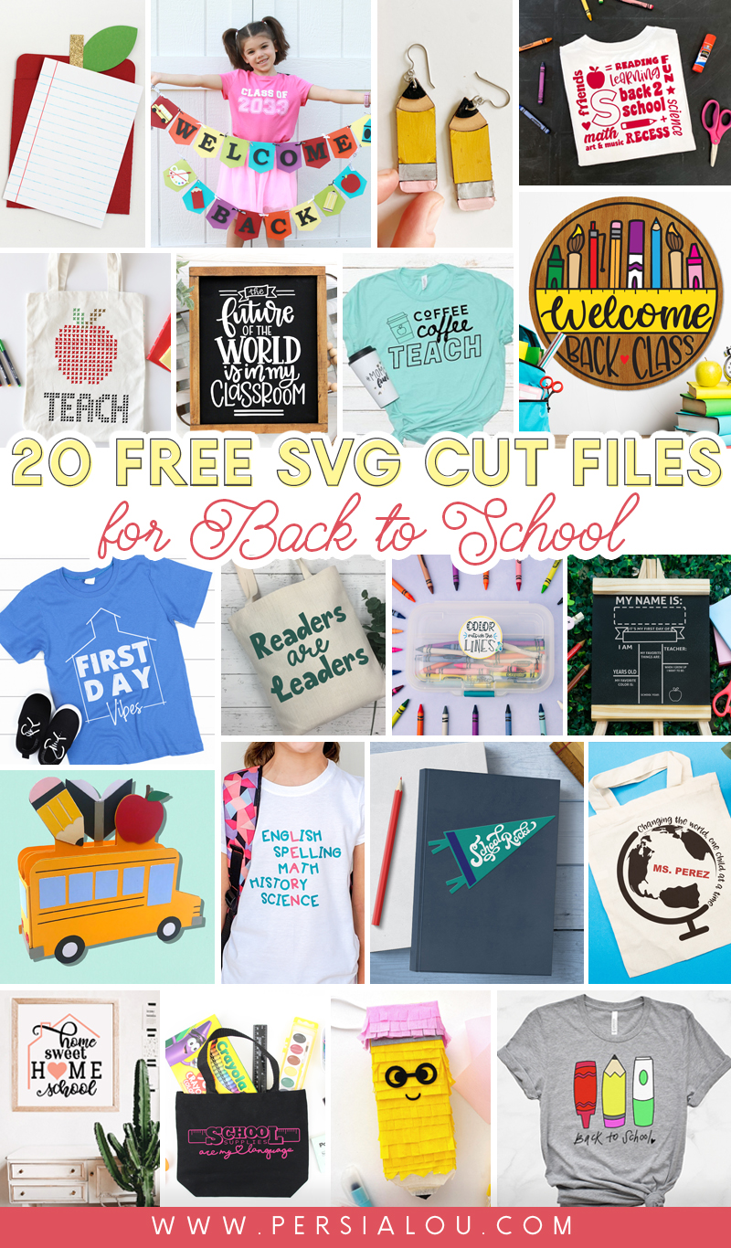 collage of 20 back to school crafts using free svg cut files