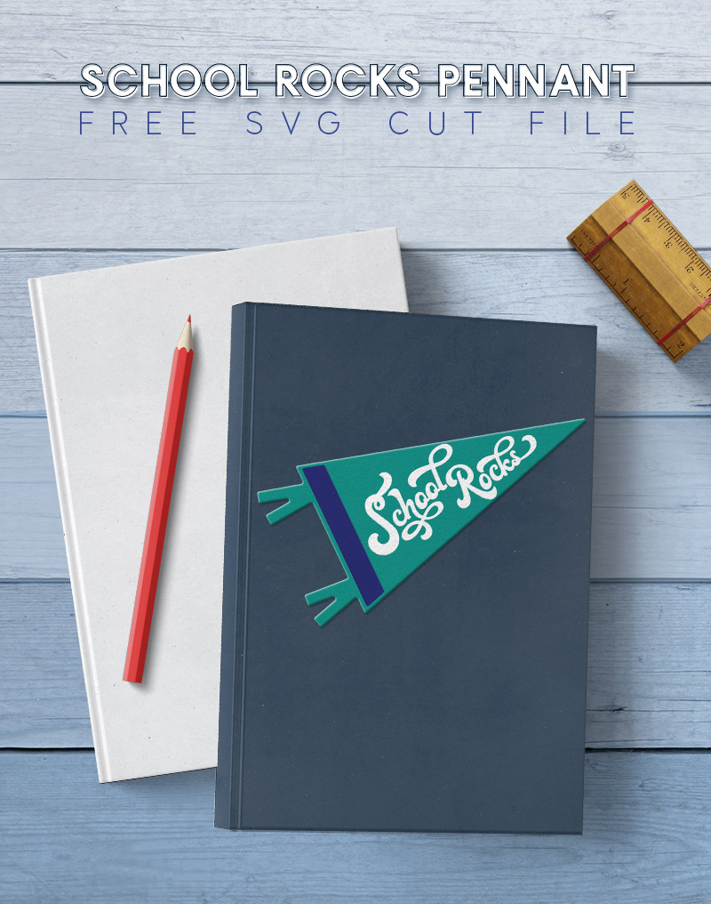 """two books stacked on a light blue wood background the top book has a pennant shaped decal on the front that reads """"school rocks"""""""
