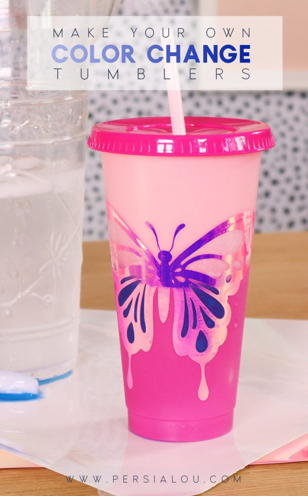 pink plastic drink tumbler with butterfly design and white to blue color changing adhesive vinyl