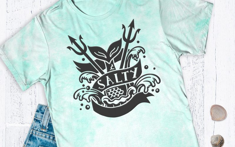 Free Salty Mermaid Tattoo Style SVG Cut File